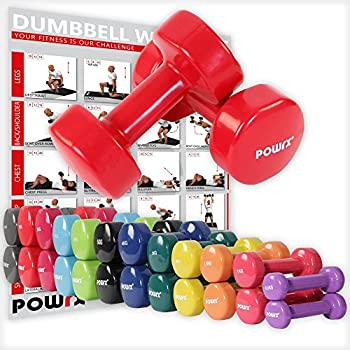 POWRX - Mancuernas Vinilo 18 kg Set (2 x 9 kg) + PDF Workout