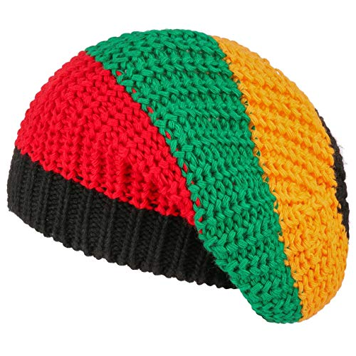 Kostüm Frauen Marley Bob - Lipodo Jamaika Oversizemütze | Baskenmütze Herren/Damen | Bunte Rastafari-Strickmütze | Made in Italy | Strickbaske Winter/Sommer | Baske bunt One Size