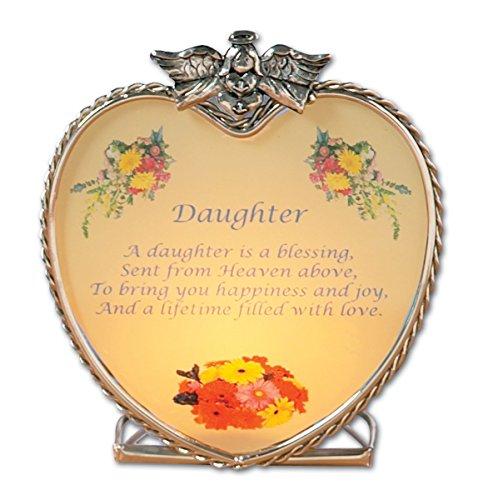 Banberry Designs Tochter Gedicht-Herzform Glas Kerzenhalter mit Tochter Design-Engel und Blumen