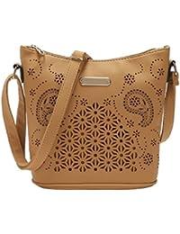 Volyer Women's Vintage Crossbody Shoulder Bag Purse Hollow Out Bucket - Beige