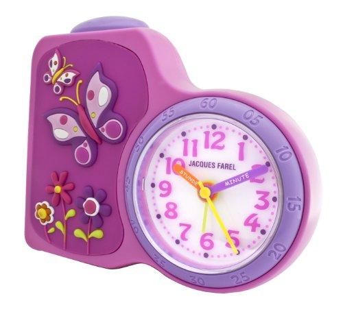 JACQUES FAREL Kinderwecker Mädchen Schmetterlinge/Blumen rosa/pink ohne Ticken, mit Licht und Snooze ACB 711 by