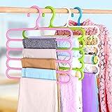 INOVERA (LABEL) 5 Layer Pants Clothes Hanger Wardrobe Storage Organiser Rack (Set of 4), 32l x 1b x 33h cm, Assorted Colour