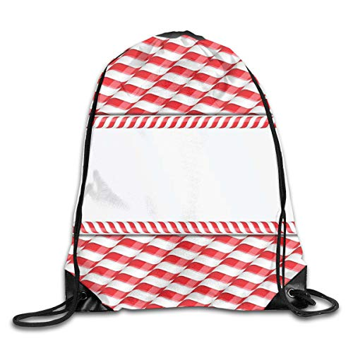 Food Cart Design (EELKKO Drawstring Backpack Gym Bags Storage Backpack, Horizontal Border Design with Abstract Traditional Food Pattern Taste of Xmas,Deluxe Bundle Backpack Outdoor Sports Portable Daypack)