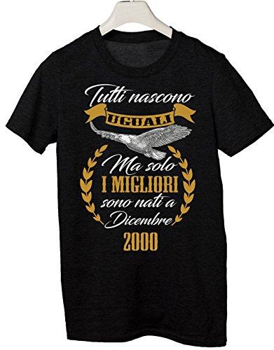 Tshirt tutti nascono uguali ma solo i migliori sono nati a Dicembre 2000 - eventi - compleanno - Tutte le taglie by tshirteria Nero