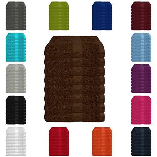 8 tlg. Handtuch-Set in vielen Farben - 8 Handtücher 50x100 cm - Farbe schokobraun (Handtücher In Schokobraun)