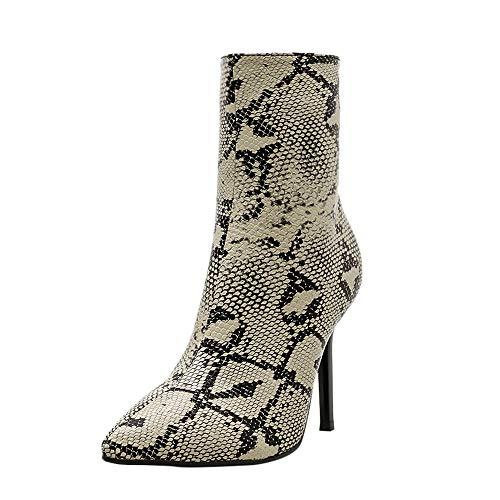 Bottes Martin à Grain Fin LuckyGirls Chaussures Femme Automne Hiver Grande Taille Pointu modèle de Peau de Serpent à Talons Hauts à glissière Pointu Mode Mince Sexy Hauts Talons 35-40