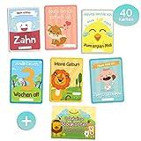 Babykulisse 40 Meilensteinkarten 1. Lebensjahr, Babytagebuch, Gratis E-Book - Ideales Geschenk zur Geburt, Schwangerschaft, Taufe - Baby Meilenstein Karten für Junge und Mädchen Deutsch