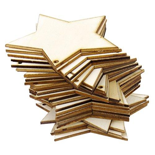 Baoblaze 25er Set Holz Sterne Scheiben Holzscheiben Baumscheiben DIY Basteln Holzsterne Deko.Holz für Hochzeit Weihnachten Party Dekoration