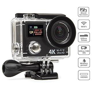 Action Camera 4K Ultra HD 12MP WIFI Sport Cam Waterproof Underwater 30M, Dual 2.0