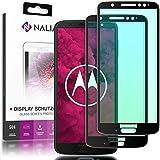 NALIA 2-Pack Glas-Schutz für Motorola Moto G6 Plus, Handy Bildschirm Display Abdeckung, Dünne Schutz-Folie, Smart-Phone TPU Screen Protector für Moto-G6+ - Kristall-Klar Transparent (schwarz)