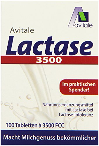Avitale Lactase 3500 FCC, 100 Tabletten im Klickspender, 1er Pack (Tabletten Enzym 100)
