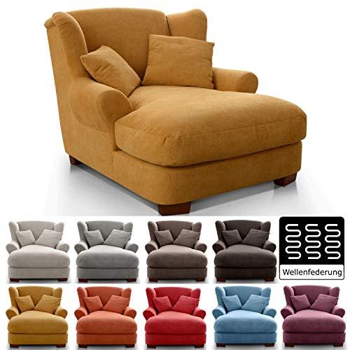 CAVADORE XXL-Sessel Oasis / Großer Polstersessel im modernen Design / Inkl. 2 schöne Zierkissen / 120 x 99 x 145 / Webstoff in gelb