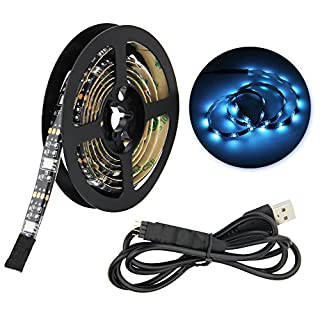 JTDEAL LED Strip Lights by 3M Adhesive 5050 RGB TV Backlight Bias Lighting 20 Color Selections with 3 Key Remote Control IP65 USB Powered Led Strip 100CM/3.2 Ft Length (Black)