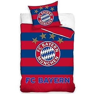 Fc Bayern München Bettwäsche Bettbezug Set Fußball 160x200 Blau