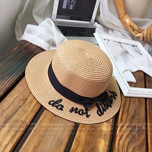 TJJQT Sonnenhut Dame Stickerei Sun Caps Boater Hut Frauen Bogen Sommer Band Runde Bogen Flat Top breiter Krempe Strohhut Womenhat