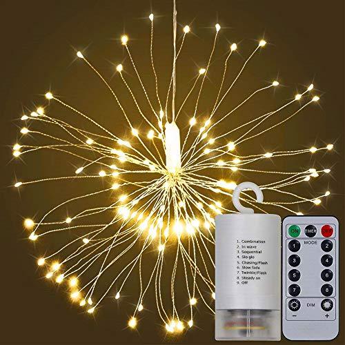 Kreema 2 PCS 120LED Feu d'artifice guirlande lumineuse à piles Starburst Fairy Starry Warm White Lighting avec télécommande pour Home Party Decor