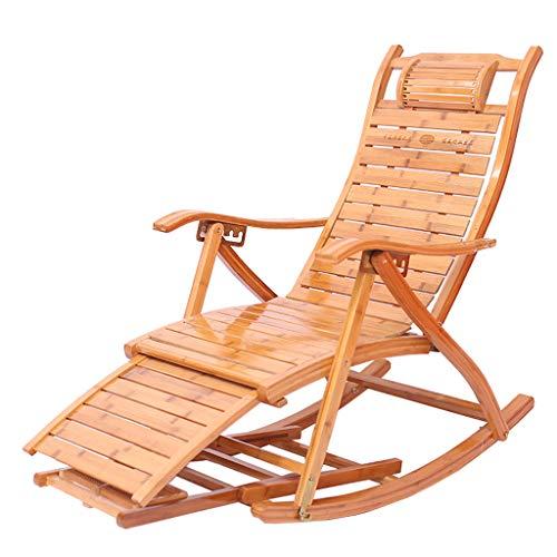 Chaise longue inclinable Chaise en bambou Fauteuil à bascule Avec accoudoirs Chaise de dossier chambre à coucher salon balcon jardin fauteuil d'extérieur (Couleur : G)