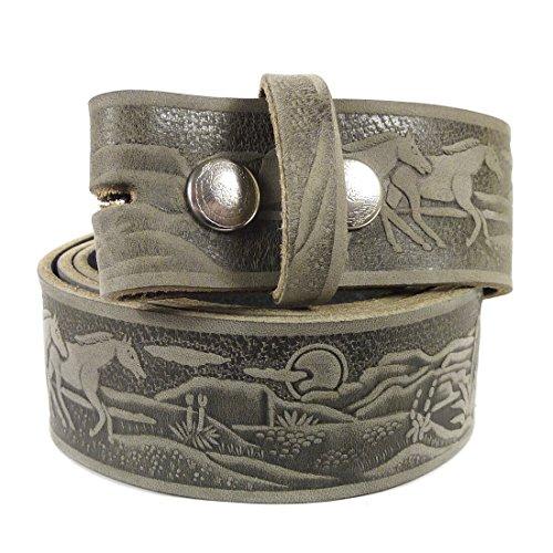 Westernwear-Shop Ledergürtel Western Prairie Ledergürtel Westerngürtel Westernkleidung Cowboygürtel Belt Vintage (110 cm) Grau