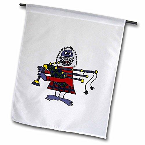 3dRose FL_234654_1 Lustige Schneemann spielt Dudelsack-Gartenflagge, 30,5 x 45,7 cm, Weiß