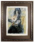 Artland Künstler-Grafik gerahmt mit Holz-Rahmen Passepartout Théo Tobiasse Würdigung an Goya Menschen Frau Graphische Kunst Schwarz 106,5 x 87 x 2 cm B7GL