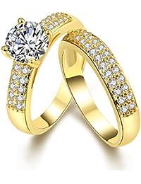 Amour Eternel Bague Femme 18K Or Plaqué Zircon Cubique Diamant Bague de Fiançailles Bague d'anniversaire Alliance de Mariage,