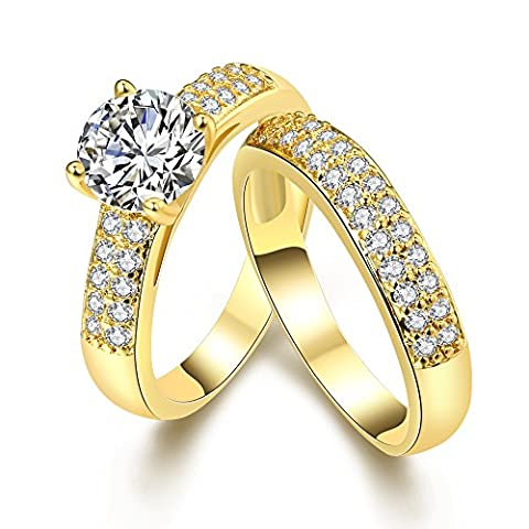 Eternity Love Wedding Bands Women's KC/White Gold Plated Double Rings Princess Cut CZ Crystal Engagement Rings Best Promise Rings Anniversary Wedding Bands, JAR005-KC-8