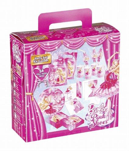 Riethmüller 552440 - Kinderpartykoffer Barbie Pink Shoes mit Teller, Becher, Servietten, Trinkhalme, Einladungen und Partytüten