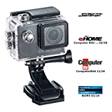 Somikon Action Kamera 4K: 4K-Action-Cam mit UHD-Video bei 24 fps, 16-MP-Sony-Sensor, IP68, WLAN (Actionkameras)