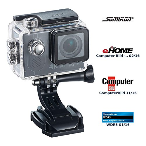 Somikon Action Kamera 4K: 4K-Action-Cam mit UHD-Video bei 24 fps, 16-MP-Marken-Sensor, IP68, WLAN (Actionkamera)