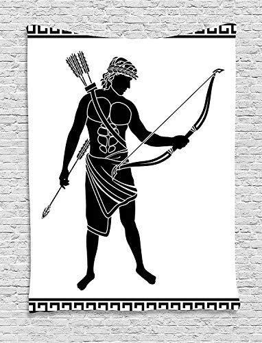 daawqee Toga Party Tapestry Hellenic Bowman Silhouette Eros Fantasy Gladiator Old Mediterranean Print for Living Room Bedroom Dorm 60 W X 80 L Inches Unique Home Decor