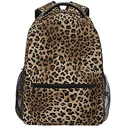 ZZKKO Mochilas con estampado de leopardo, estilo vintage, para escuela, libros, viajes, senderismo, camping, etc.
