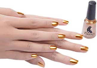 Forthery Mirror Silver Nail Polish Mirror Nail Polish Plating Paste Metal Color Stainless Steel 6ml Gold