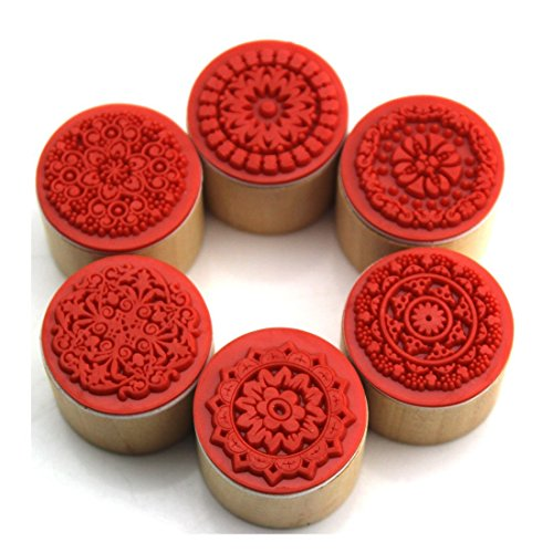 Decora-6pcs-Floral-Pattern-Round-Wooden-Rubber-Stamp