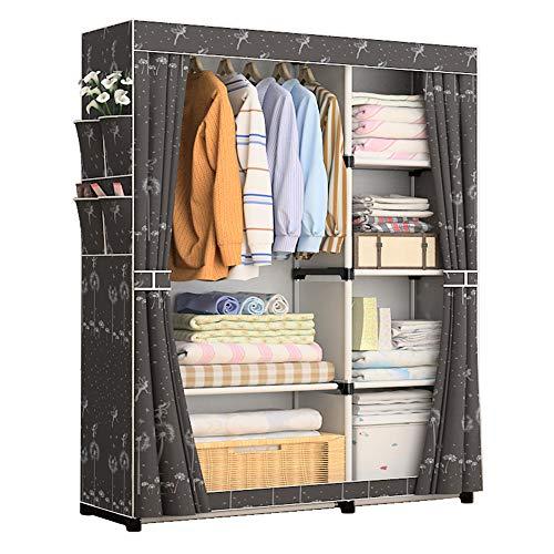 Udear armadio per camera da letto tessuto non tessuto mobili per armadi armadio per vestiti organizzatore nero e fiore