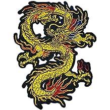 Drache grün gelb Aufbügler Aufnäher Bügelbild Patch Sticker zum aufbügeln dragon