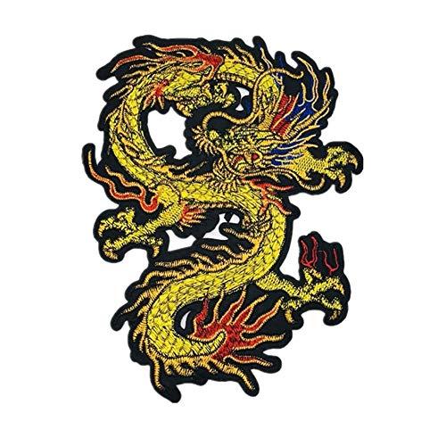 Wicemoon 23cm*16cm Dragón Bordado Parches de Hierro En Apliques Para Ropa Parches de Chaqueta