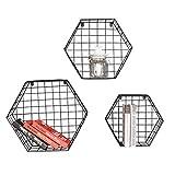 HSHELF-Möbel Multifunktionale Wandregale Hexagon an der Wand befestigte Speicher-Regal-Eisenkorb-Gitter-Gestell-moderne unbedeutende für Eingang / Wohnzimmer / Schlafzimmer, Schwarzes, Multi-size Stilvolle und attraktive platzsparende Wandregal ( größe : S+M+L )