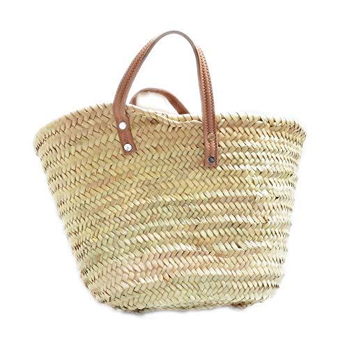 Capazo de Palma básico, con Asas Corta de Cuero curtido rústico. Cesto o Bolso de Mimbre para la Playa, Fibras Naturales. (7V, Aprox. 42x25 cm)