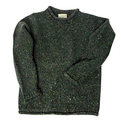 Irischer Herrenpullover aus Tweedwolle mit Kleinem Rollkragen (M) (Tweed Rollkragen Pullover)