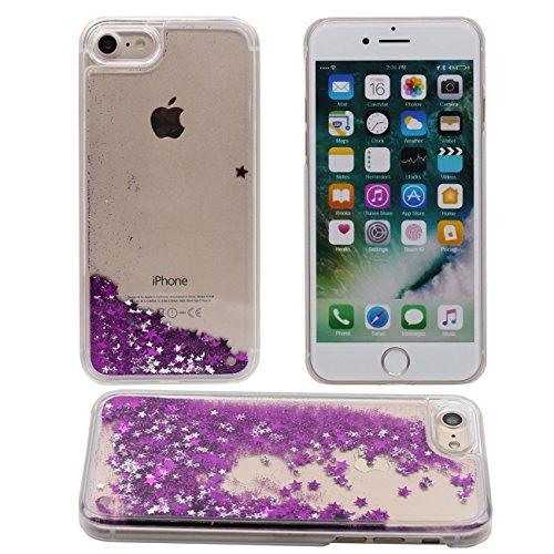 iPhone 7 Plus Copertura Protettiva Bello Fluido Stelle Serie Acqua Liquido Duro Plastica PC Gel Trasparente Custodia Case per Apple iPhone 7 Plus 5.5 inch viola