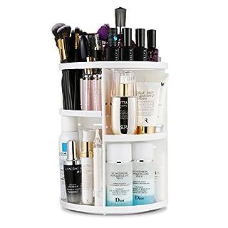 LAVANY Jerrybox Schmink Aufbewahrung, 360 Grad Drehbarer Kosmetik Organizer mit Einstellbare Nagellack Lippenstift Pinsel Aufbewahrung, Praktisch für alle Make Up Zubehör (Round White)