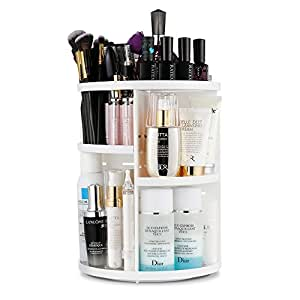 Jerrybox 360 Grad Drehbarer Make up Organizer Einstellbarer Kosmetikorganizer Multifunktionale Aufbewahrungsbox, Großer Stauraum, 7 Verstellbare Ebenen, Passend für Schminke, Gesichtswasser, Cremes, Kosmetikpinsel und Lippenstifte, Weiß