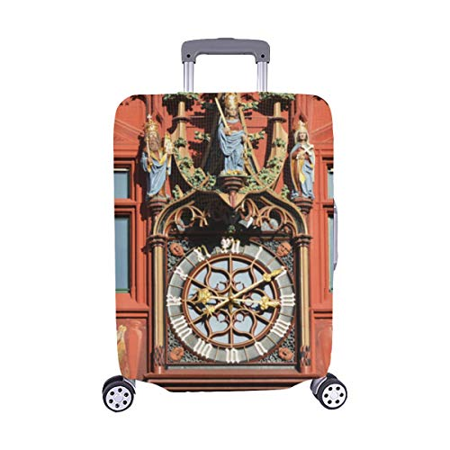 Alte Uhr in der Altstadt Muster Spandex-Staubschutz Trolley Protector case Reisegepäck-Schutzkoffer-Abdeckung 28,5 X 20,5 Zoll(Nur die Gepäckstaubabdeckung) Flagge Protector Case