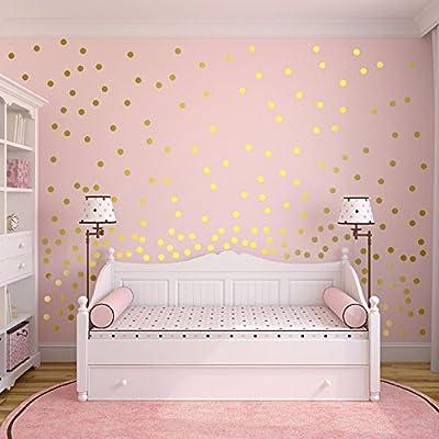 Slivercolor Gold Punkt Aufkleber,Herausnehmbarer Dot Aufkleber,Wandtattoo Punkte für Kinderzimmer Deko, 1,2 Zoll, 216 Punkte von Slivercolor bei TapetenShop