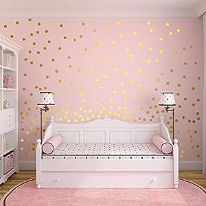 Slivercolor Gold Punkt Aufkleber,Herausnehmbarer Dot Aufkleber,Wandtattoo Punkte für Kinderzimmer Deko, 1,2 Zoll, 216 Punkte