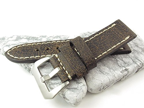 26mm Italien Genuina Leder Uhrenarmband Vintage Classic Dark Braun New Armband ls-1130