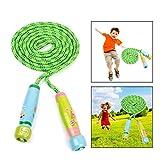 OFKPO Corda per Saltare Regolabile in Cotone e Legno per Bambini - per Giocare ed Esercitarsi(Verde)
