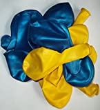 Sachsen Versand 50 blau-gelb-metallic-Luft-Ballons glänzend-metall-Feier-Deco-Geburtstag-Fete-Helium-geeignet EU Ware