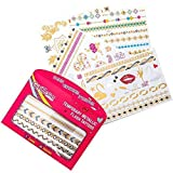 GirlZone: Hypoallergen Glitzertattoo 65er Set - Temporäre Flash Tattoos & Hauttattoo - Temporätattoos - Mädchen Geschenke für Party - Mitgebsel Kindergeburtstag - Karnevaltattoo