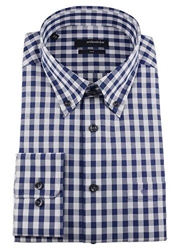 Seidensticker Herren Langarm Hemd UNO Regular Fit Button-Down-Kragen BD blau / weiß kariert 131742.17 Blau